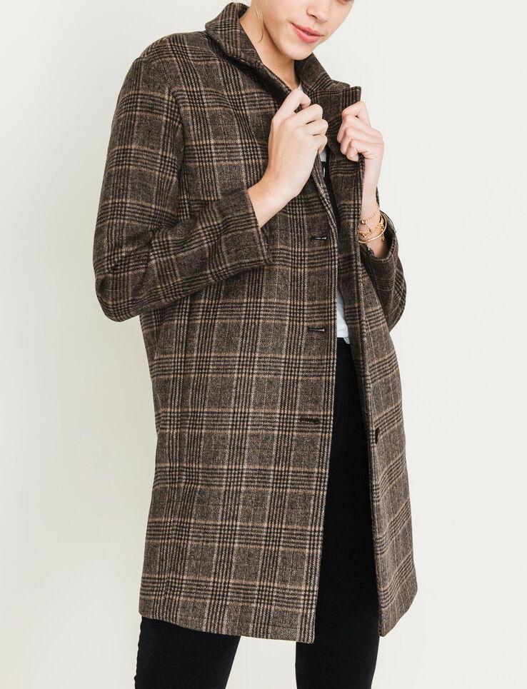 manteau lainage carreaux femme marron bizzbee. Black Bedroom Furniture Sets. Home Design Ideas