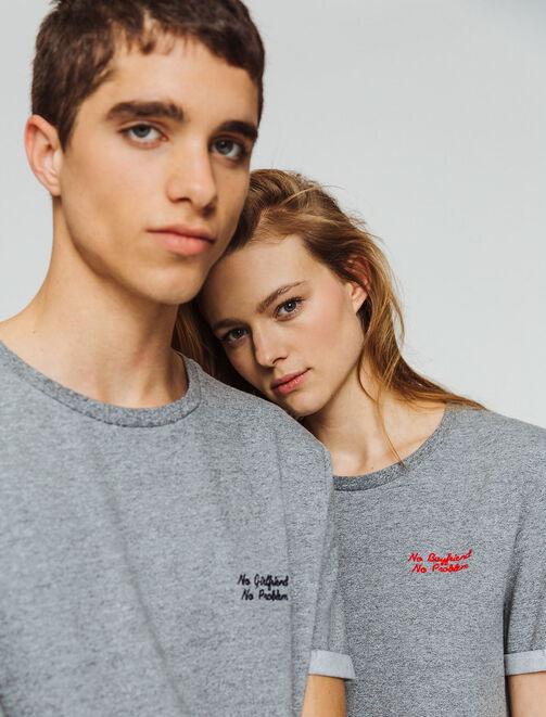 "T-shirt message ""NO BOYFRIEND NO PROBLEM"" femme"