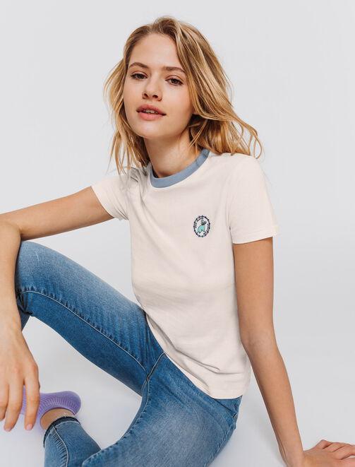 T-shirt patch dinosaure femme
