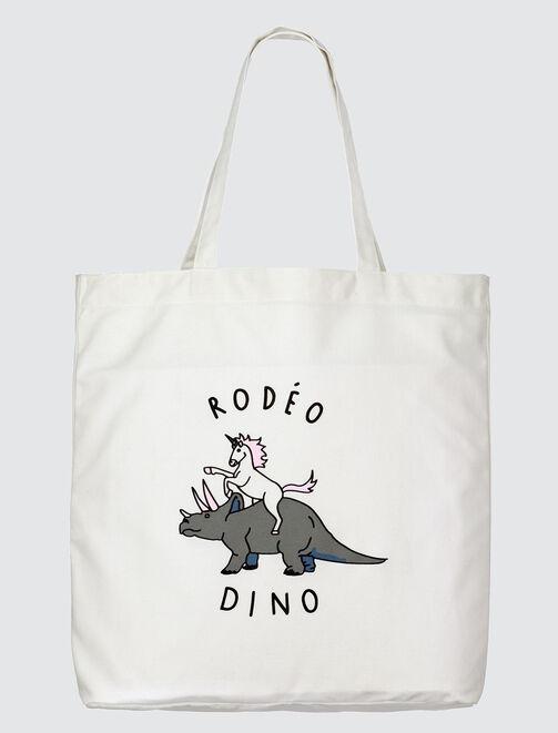 "Tote Bag message ""rodéo dino"" femme"