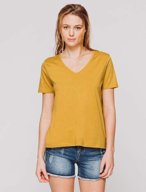 T-shirt col V uni femme