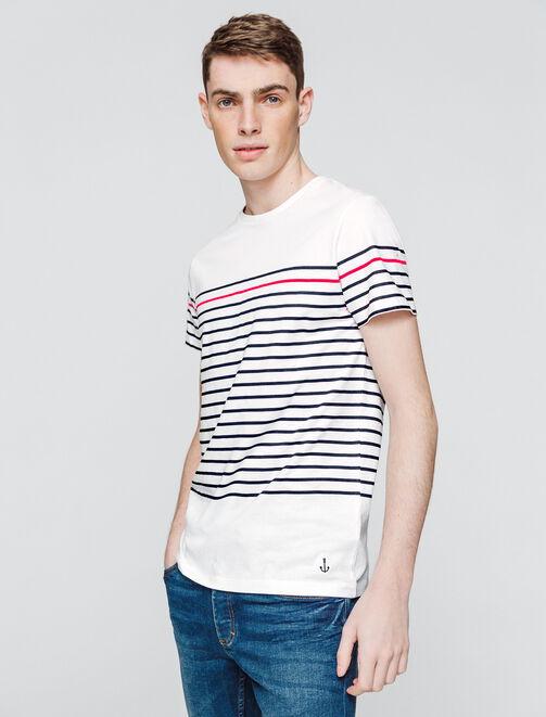 T-shirt esprit marin rayure contrastée homme