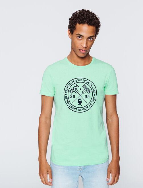 """T-shirt message """"Université d'histoire de lard"""" homme"""