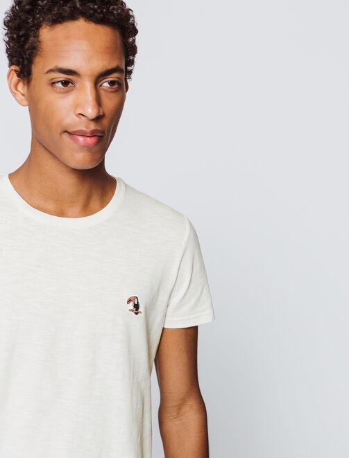 T-shirt uni broderie toucan homme