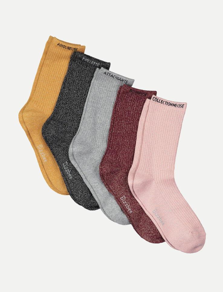 lot de 5 chaussettes paillette femme multicolore bizzbee. Black Bedroom Furniture Sets. Home Design Ideas