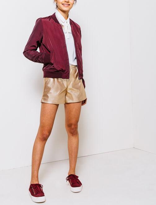 Short Taille Haute Brillant femme