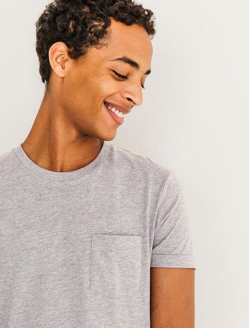 T-shirt matière fantaisie et poche homme