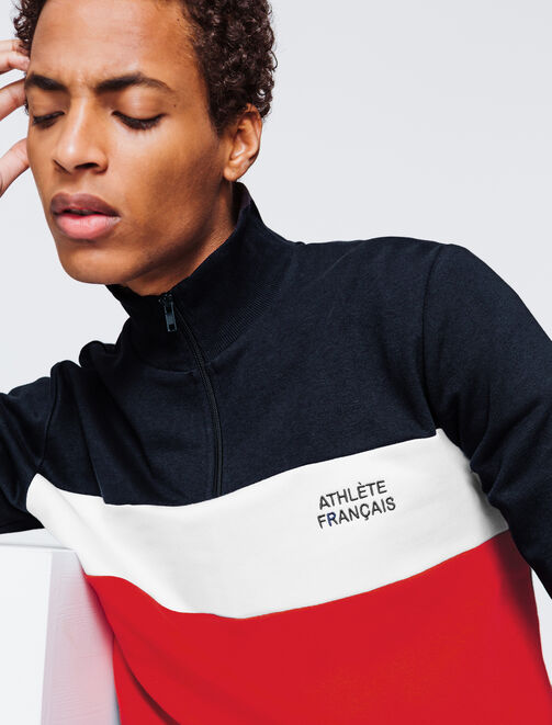 "Sweat color block à message ""Athlète Français"" homme"