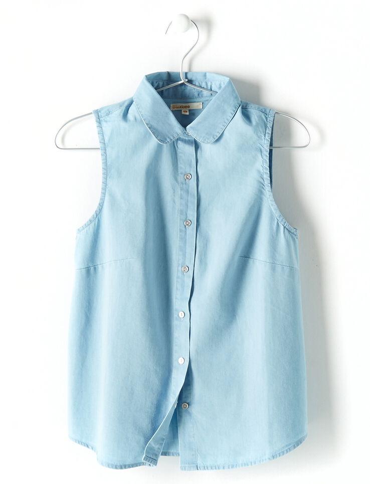 chemise sans manche en denim col claudine femme bleu jean. Black Bedroom Furniture Sets. Home Design Ideas