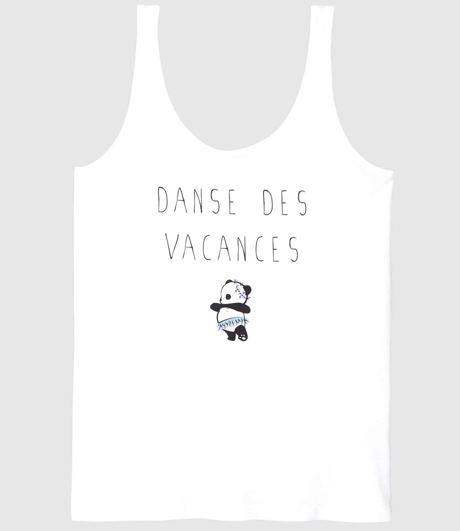 """Débardeur Panda message """"Danse des vacances"""""""