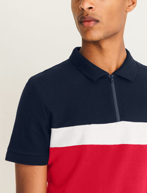 Polo zippé color block homme