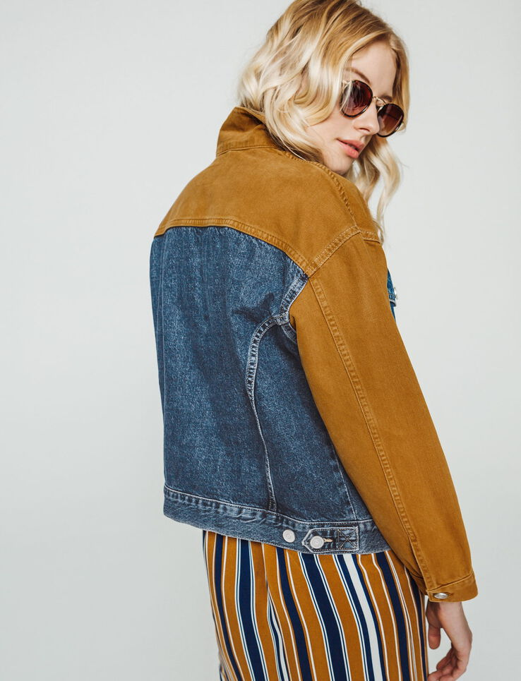 veste denim color block