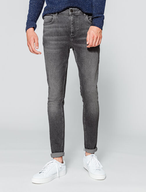 Jean ultra skinny gris homme