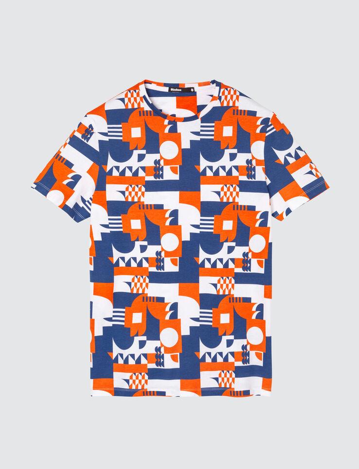 T-shirt imprimé graphique bleu et orange