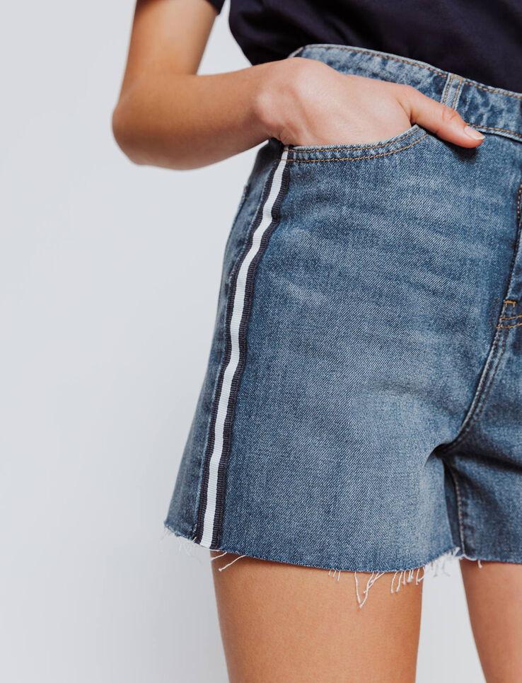Short en jean bandes côté