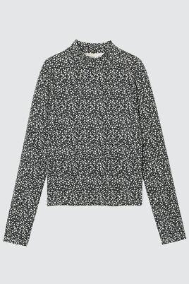 T-shirt col montant motif fleuri