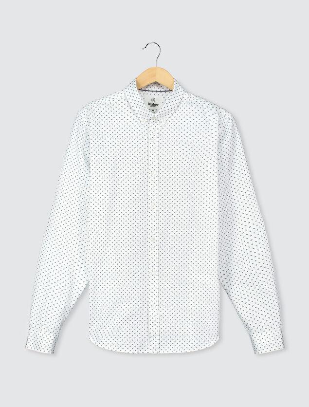 Chemise blanche imprimée marine
