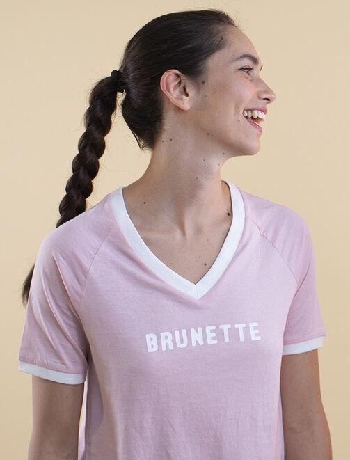 "T-shirt à message "" BRUNETTE"" femme"