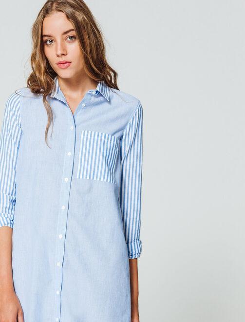 Robe chemise à rayures femme
