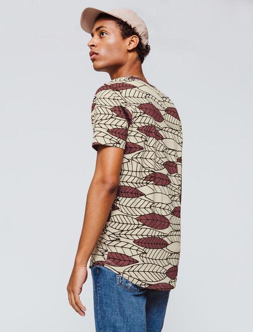 T-shirt bas arrondi motif feuilles graphiques homme