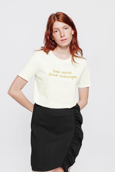 "T-shirt en coton bio ""save water, drink champagne"""
