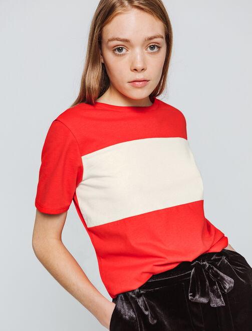 T-shirt boxy colorblock femme