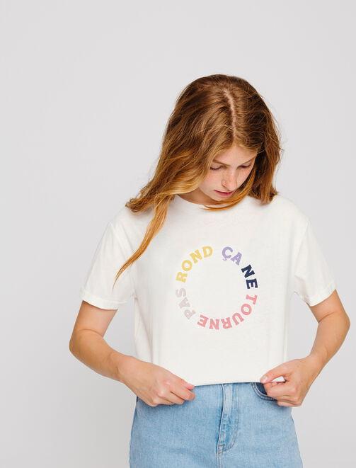 """T-shirt message """" ça ne tourne pas rond""""  femme"""
