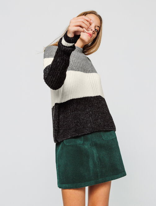 Pull colorblock col montant femme