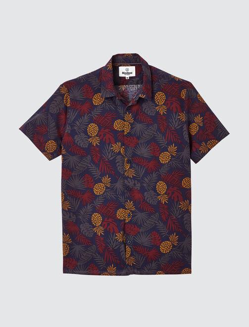 Chemise manches courtes imprimée tropical homme
