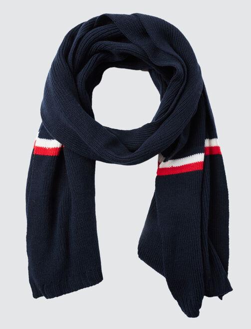 Echarpe tricot bleu blanc rouge homme