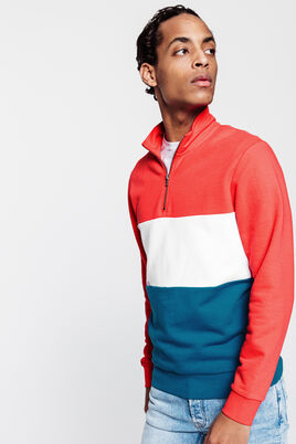 Sweat col montant avec bandes tricolores