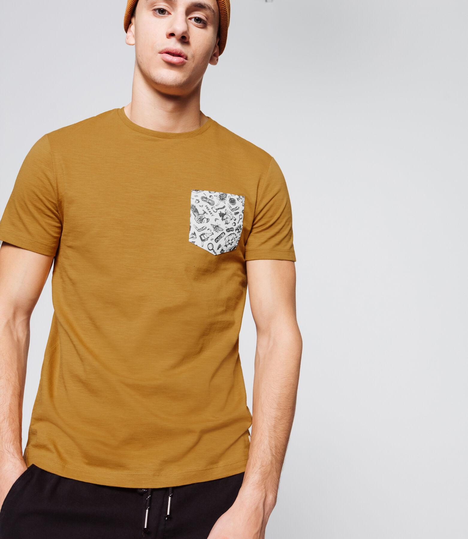 T-shirt uni poche printé