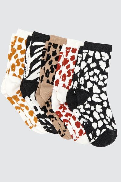 Chaussettes Imprimées Animaux Lot*5