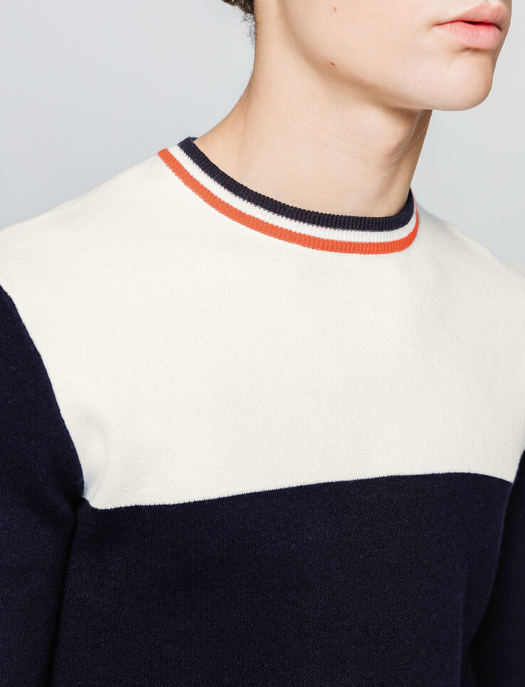Pull colorblock col rayé