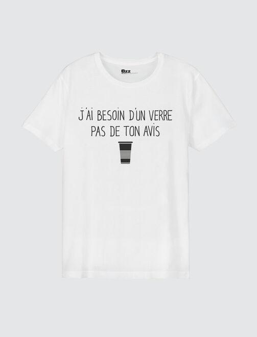 """T-shirt message """"J'ai besoin d'un verre"""" homme"""
