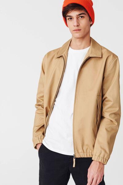 Blouson col chemise beige en coton twill
