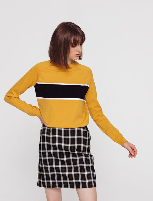 Pull col rond rayure femme