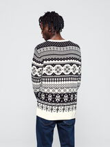 Pull col rond jacquard traditionnel