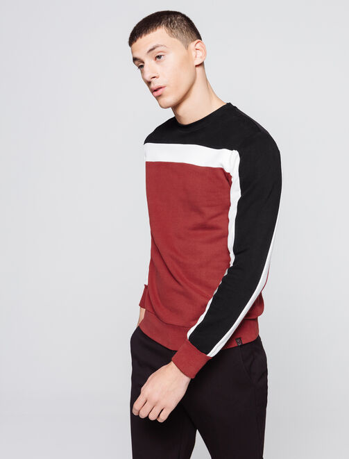 Sweat enfilé colorblock bandes homme
