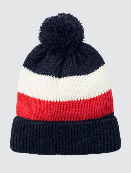 Bonnet tricot bleu blanc rouge  femme