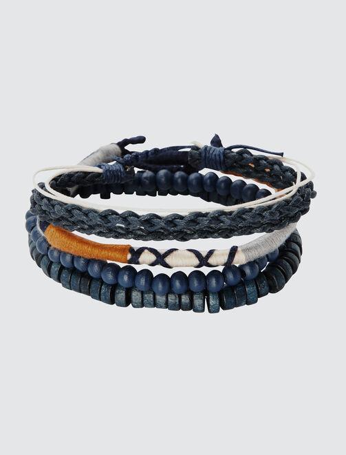 Set de Bracelets Marine et Moutarde homme