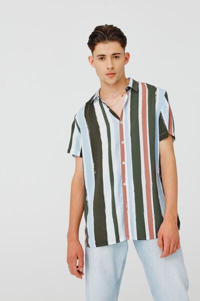 Chemises manches courtes rayées ECOVERO
