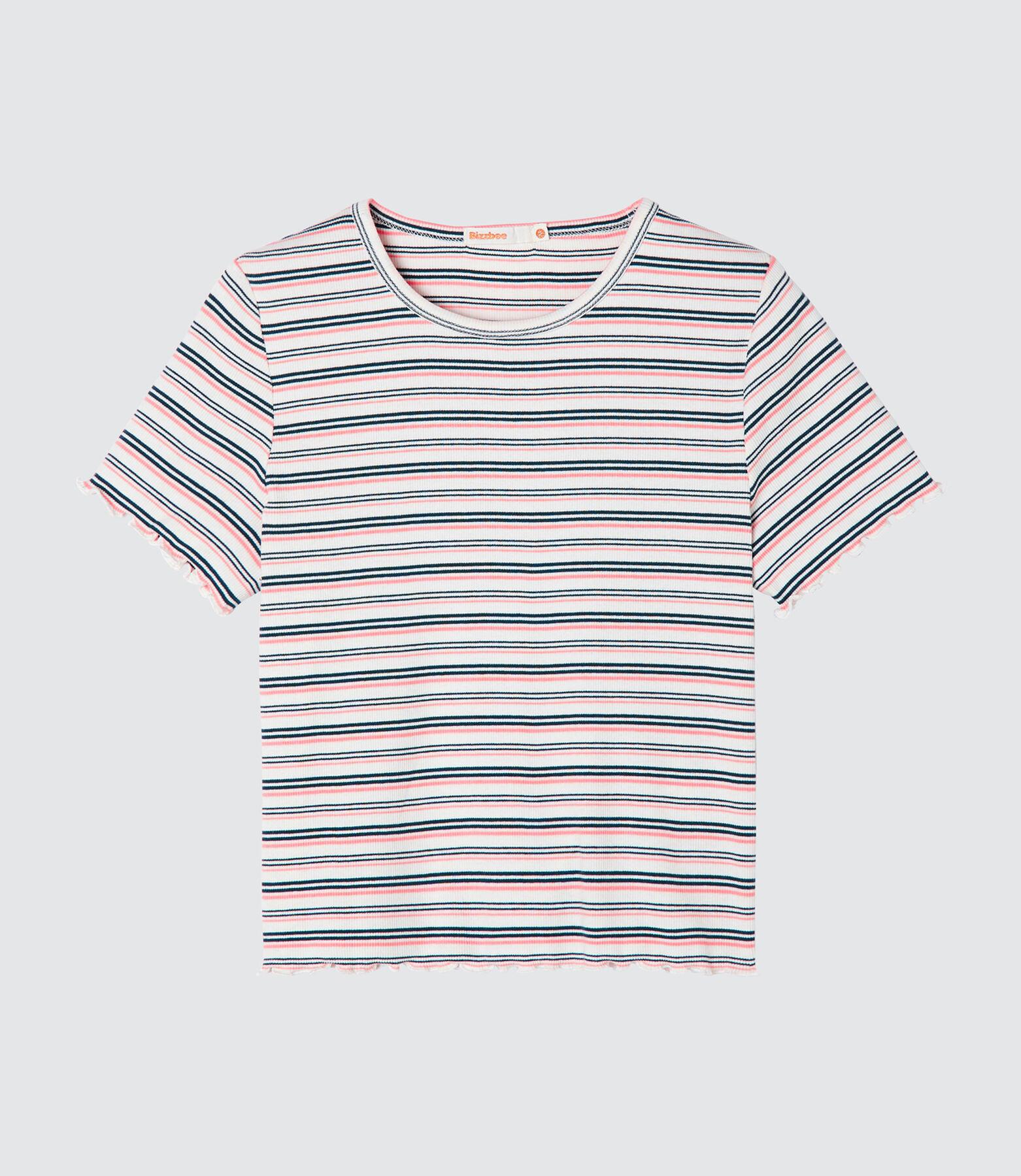 T-shirt frill rayé