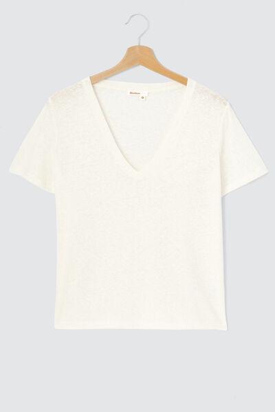 T-shirt col V mix coton lin