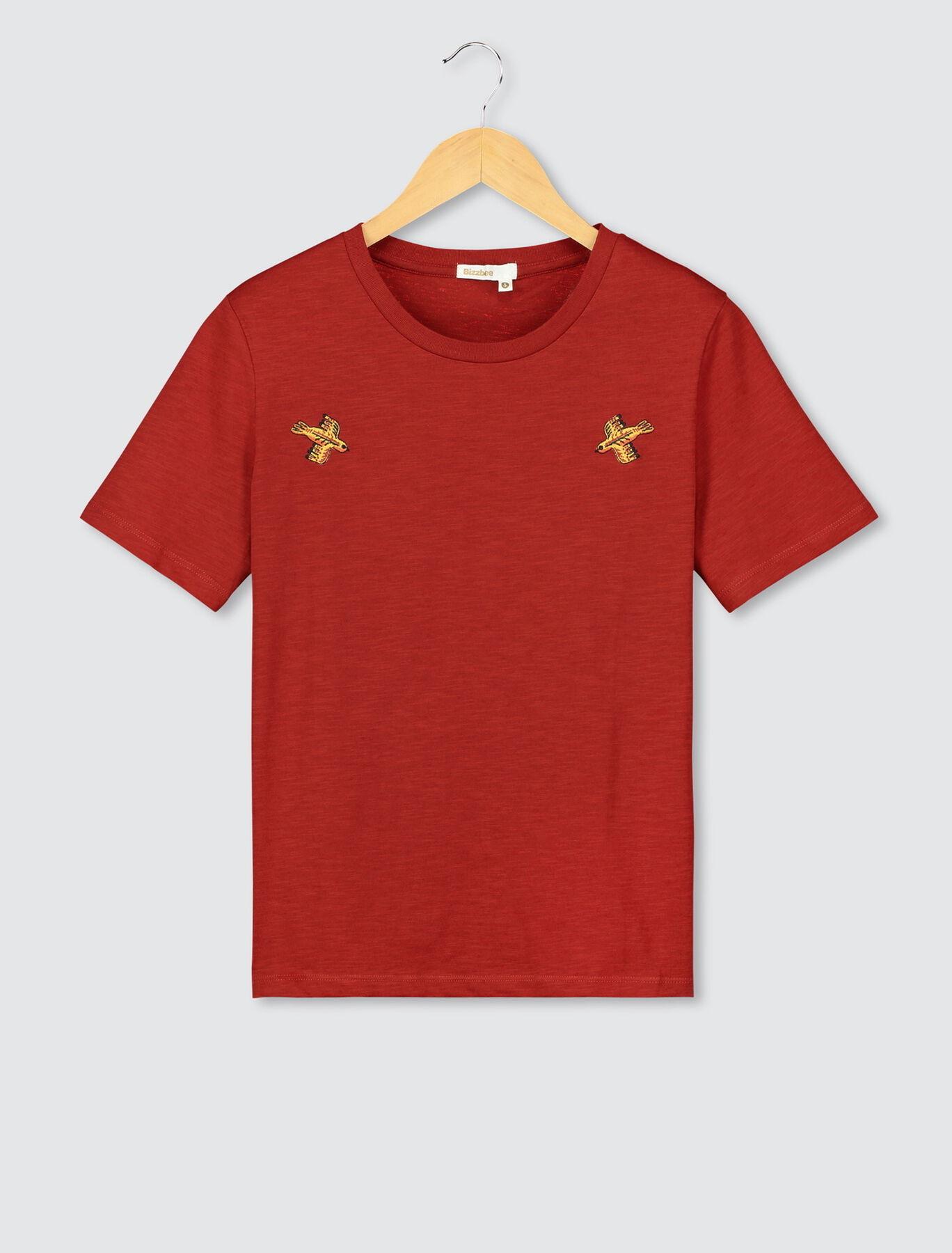 T-shirt broderie poitrine coton bio