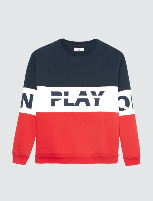 "Sweat colorblock à message "" PLAY ON OFF"" femme"