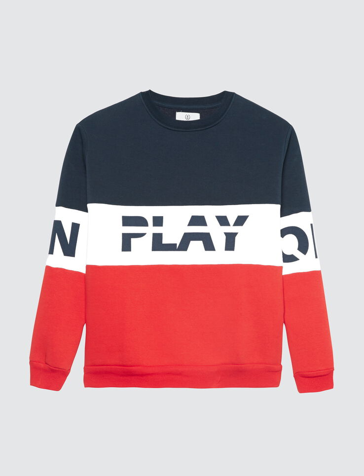 "Sweat colorblock à message "" PLAY ON OFF"""