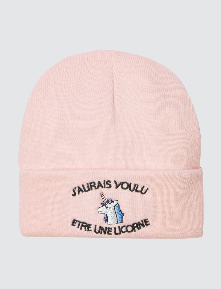 "Bonnet Message ""Licorne"""