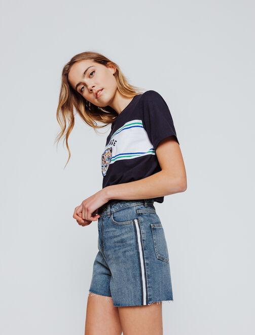 Short en jean bandes côté femme