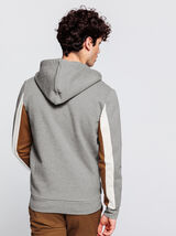Sweat à capuche zippé détails bandes contrastées